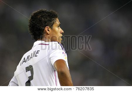 BARCELONA - OCT, 20: Raphael Varane of Real Madrid during the Spanish Kings Cup match against UE Cornella at the Estadi Cornella on October 29, 2014 in Barcelona, Spain