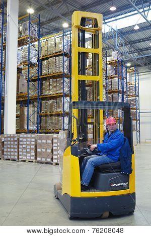 The Driver Of A Forklift Pallet Truck, Reach Trucks.