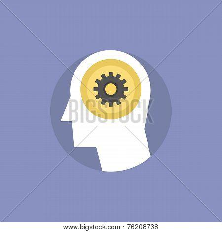 Thinking Process Flat Icon Illustration