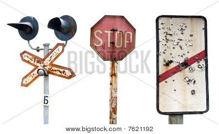 Old Decayed Railway Signs Isolated On The White