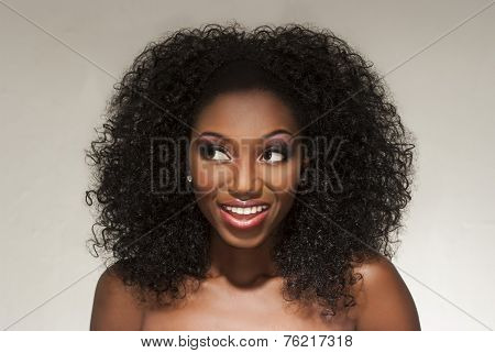 Beautiful Happy Woman Wearing Curly Hair