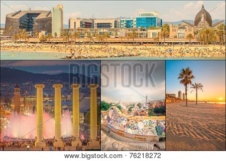 Beautiful Collage of famous city Barcelona. Catalonia. Spain poster