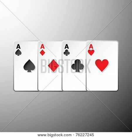 Four Playing Cards Suits Symbols On Gray Background