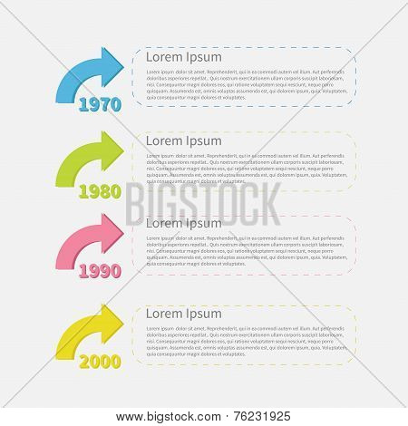 Timeline vertical Infographic with colored arrows and text. Template. Flat design. Vector illustration poster
