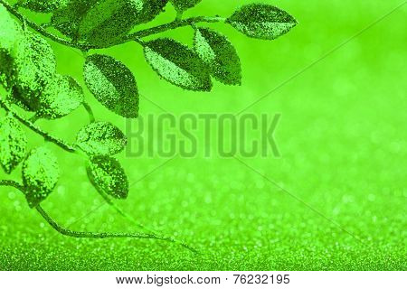 leaves on abstract christmas background