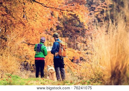 Vintage Instagram Couple Hiking In Autumn Forest