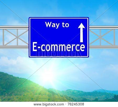 E-commerce Blue Road Sign