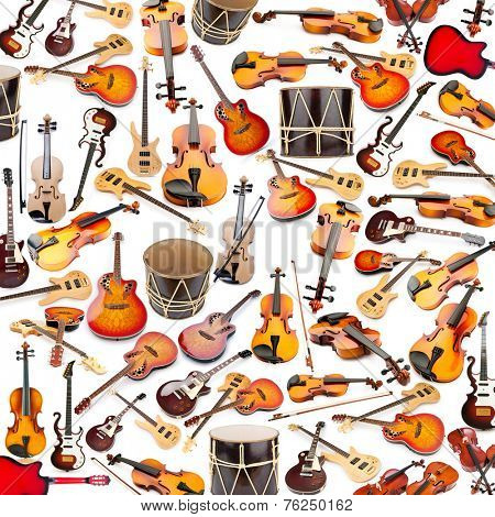 Background made of many musical instruments