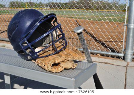 Baseball Helmet, Bat, And Glove
