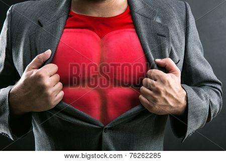 Man showing his flack jacket