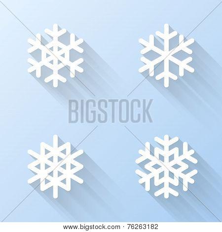 Flat Snowflake Icons. Vector Illustration