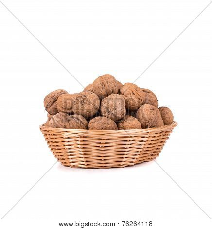 Walnuts in a bowl isolated on the white background poster