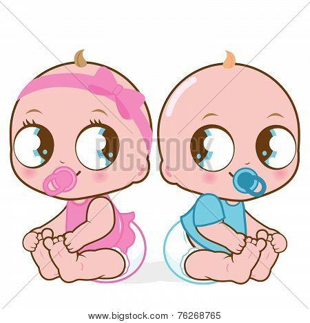 Cute baby girl and boy vector