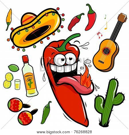 Vector chili pepper Mexican icon collection.