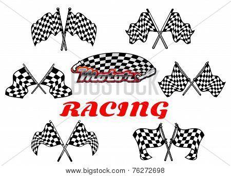 Black and white heraldic checkered racing flags