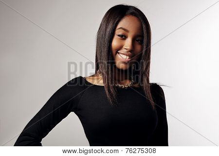 Happy Smiling Black Woman With A Stright Hair