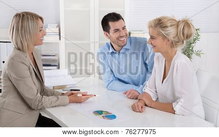 Young married couple sitting with an adviser at desk in a guidance or professional business meeting planning their provision for one's old age.
