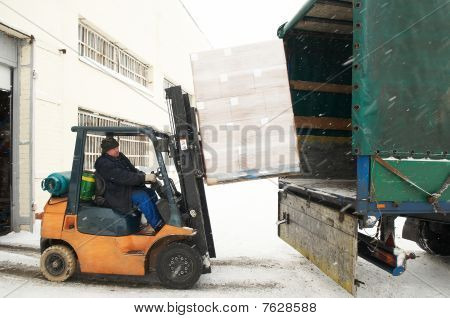Warehouse Forklift Loading A Car