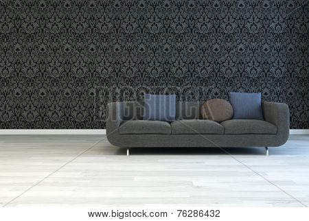 3D Rendering of Dark Gray Sofa with Square and Round Pillows on an Architectural Lounge Room with Artistic Black Floral Pattern Wall and Off White Wooden Floor.