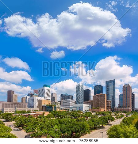 Houston skyline from south in Texas US USA
