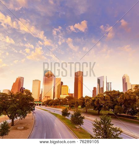 Houston skyline at sunset from Allen Pkwy Texas USA US America