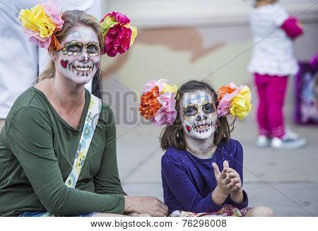 Woman And Girl In Dia De Los Muertos Makeup