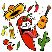 Vector collection of a hot chili pepper and Mexican themed illustrations with a guitar, tequila, cactus poster