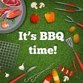 barbecue grill picnic poster with meat fish vegetables vector illustration poster