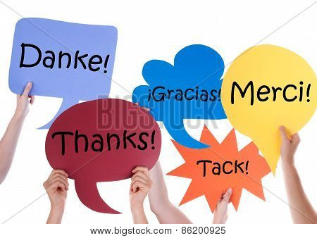Many Colorful Speech Balloons With Thank You Different Languages