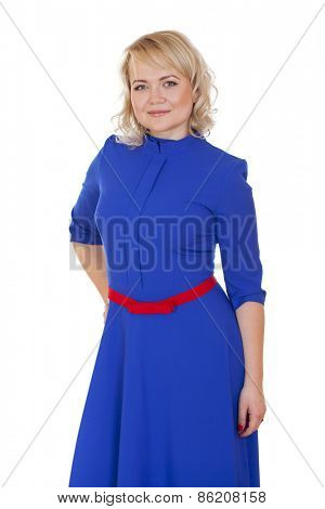 Mid adult cheerful woman portrait in blue dress, attractive caucasian middle 40 years old woman over white