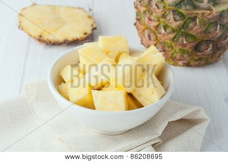 Pineapple Chunks In White Bowl