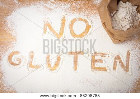 The Words No Gluten Written On Gluten Free Flour