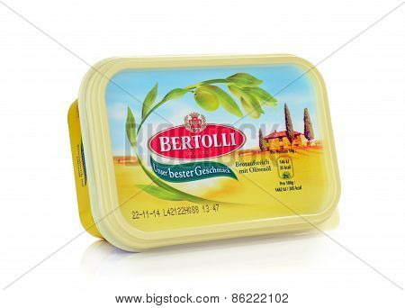 A tub of Bertolli olive oil margarine