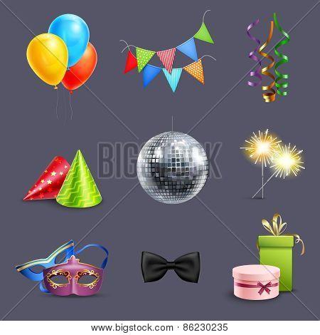 Realistic Celebration Icons