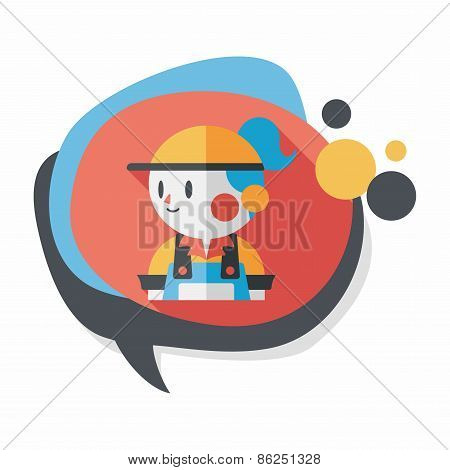Coffee Shop Clerk Flat Icon With Long Shadow,eps10, stylish colors of vector illustration. poster