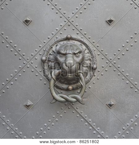 Lion head door knocker close-up