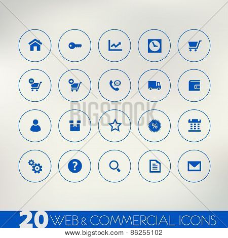 Web and commercial blue icons on light background