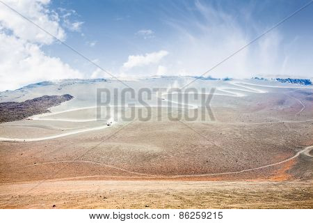 View of the volcanic landscape around Mount Etna, Sicily