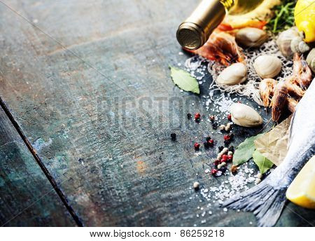 Food background with Seafood and Wine. Lots of copy space