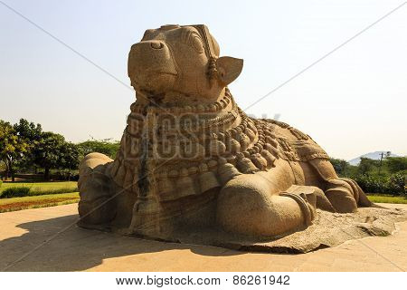 Close-up front side view of a gigantic sacred Bull of Lord Shiva called Nandi captured at Lepakshi