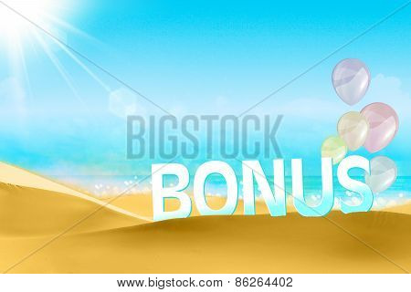 Bonus on a beach background