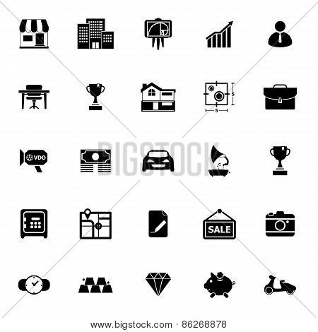 Asset And Property Icons On White Background