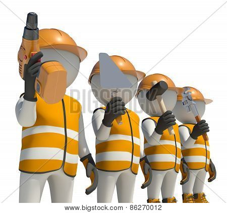 Workteam in special clothes and helmet holding tools