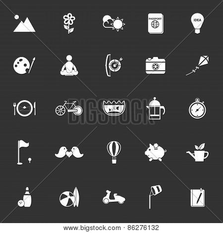 Slow Life Activity Icons On Gray Background