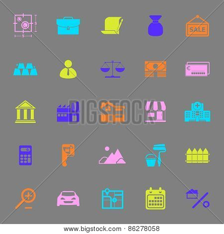 Mortgage And Home Loan Color Icons On Gray Background