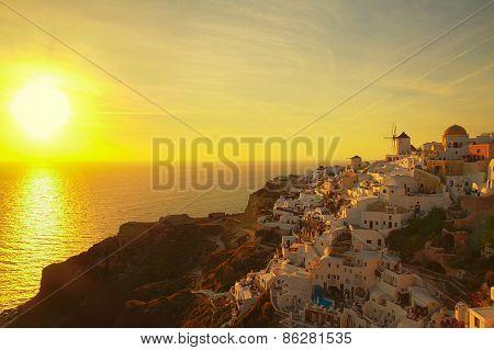 windmill of Oia at sunset, Santorini