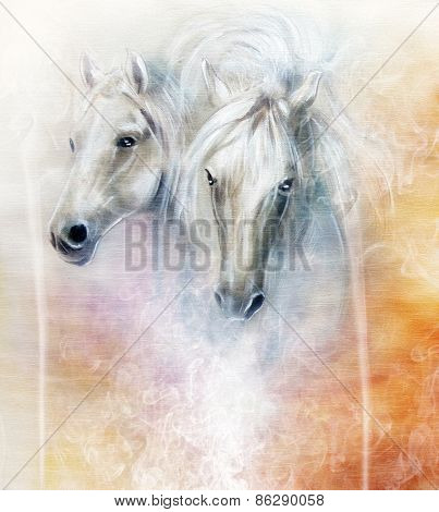 Two white horse spirits above a shaman hand beautiful detailed oil painting on canvas poster