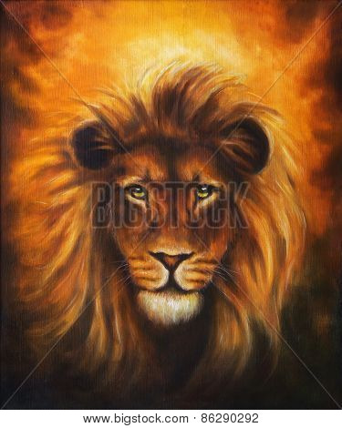 Lion Close Up Portrait, Lion Head With Golden Mane, Beautiful Detailed Oil Painting On Canvas