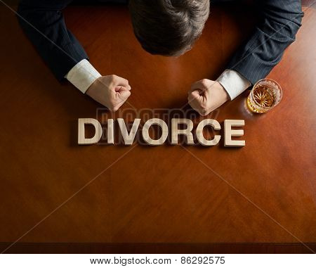 Word Divorce and devastated man composition