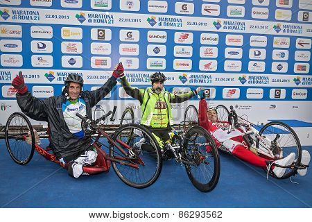 The Three Winners Of The Race Handbike.